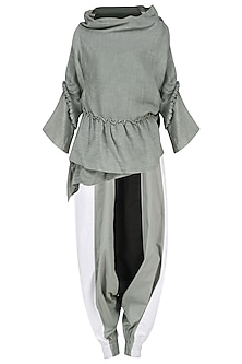 Grey Pleated Wrap Top with Coloblocked Harem Pants