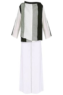 White Colorblocked Wrap Jacket with Palazzo Pants Set by Ritesh Kumar