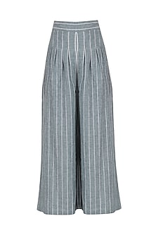 Blue and White Striped Palazzo Pants