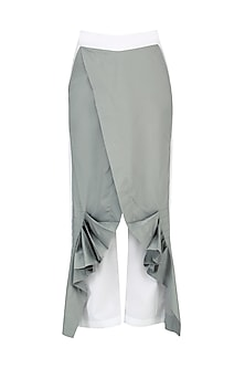 White and Grey Wrap Pants