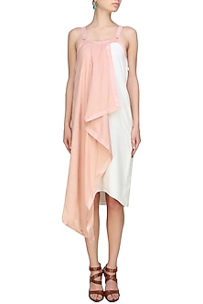 Blush and white colour block convertible dress by Ritesh Kumar