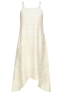 Cream striped pinafore dress by Ritesh Kumar