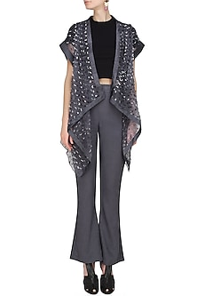 Steel grey thread tassel detailing textured convertible jacket by Ritesh Kumar