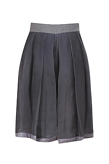 Steel grey pleated silk shorts