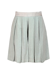 Silver pleated silk shorts