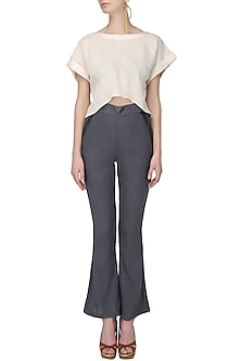 Steel grey boot cut silk pants by Ritesh Kumar