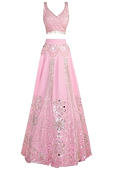 Pink embroidered lehenga set by Riddhi Majithia