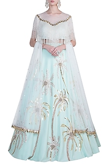 Mint embroidered lehenga set by Riddhi Majithia