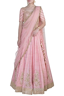 Salmon pink embroidered lehenga set by Rishita and Mitali