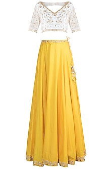 Yellow Embroidered Lehenga Set by Rishita and Mitali