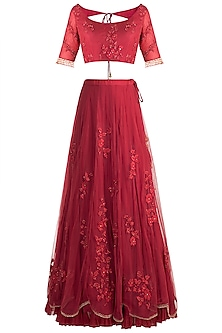 Red Embroidered Lehenga Set by Rishita and Mitali