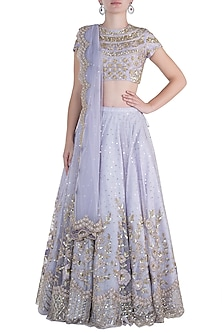 Lilac embroidered lehenga set by Rishita And Mitali