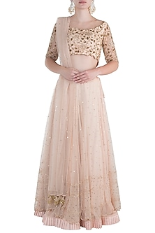 Nude peach embroidered lehenga set by Rishita And Mitali