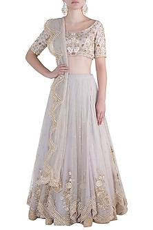 Ivory embroidered lehenga set by Rishita And Mitali