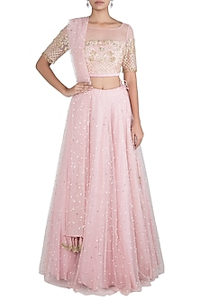Powder pink embroidered lehenga set by Rishita And Mitali