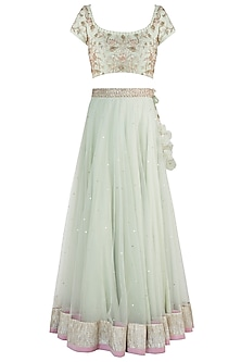 Mint green embroidered lehenga set by Rishita And Mitali