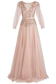 Peach embroidered gown by Rishita And Mitali