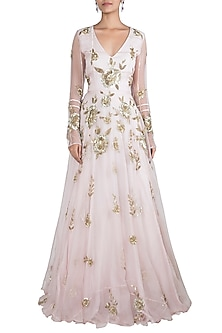 Pink embroidered gown by Rishita And Mitali
