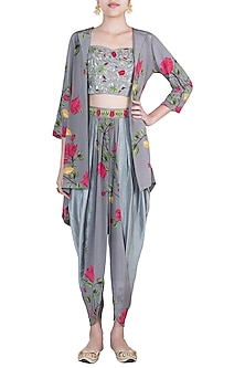 Ash grey embroidered printed bustier with jacket, dhoti pants and belt by Riraan By Rikita & Ratna