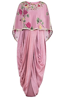 Rouge pink embroidered printed maxi with cape by Riraan By Rikita & Ratna