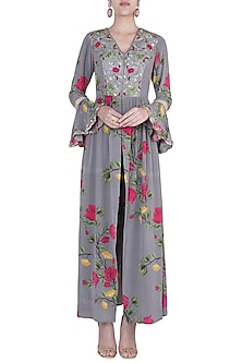 Ash grey embroidered printed tunic with pants by Riraan By Rikita & Ratna