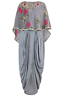 Ash grey embroidered printed cape with overlap maxi dress