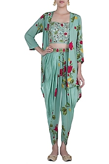 Peppermint green embroidered printed bustier with jacket, dhoti pants and belt by Riraan By Rikita & Ratna