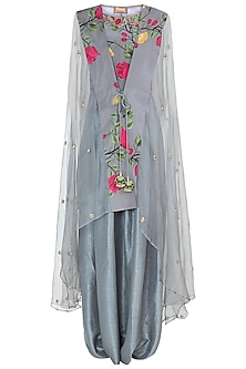 Ash grey embroidered printed jumpsuit with jacket by Riraan By Rikita & Ratna
