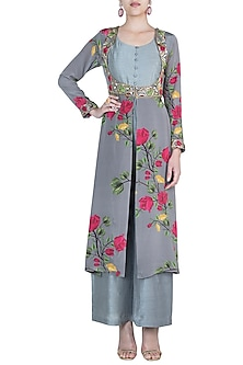 Ash grey jumpsuit with embroidered printed jacket by Riraan By Rikita & Ratna