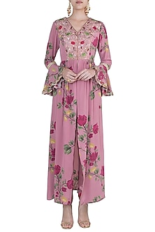 Rouge pink embroidered printed tunic with pants by Riraan By Rikita & Ratna