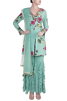 Peppermint Green Embroidered Printed Sharara Set by Riraan By Rikita & Ratna