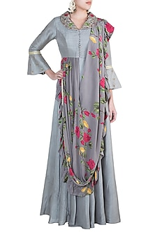Ash Grey Embroidered Printed Anarkali With Attached Dupatta by Riraan By Rikita & Ratna