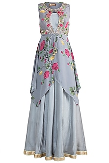 Ash Grey Embroidered Printed Top With Bustier, Skirt & Belt by Riraan By Rikita & Ratna