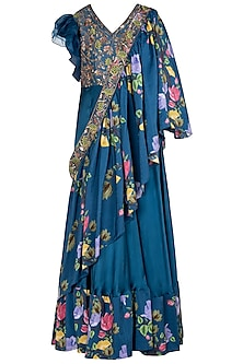 Blue Printed and Embroidered Anarkali Gown with sash Dupatta