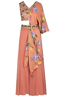 Rust Embroidered and Printed Blouse with Palazzo Pants and Belt