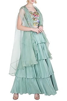 Green Printed and Embroidered Blouse with Tiered Lehenga Skirt and Cape by Riraan By Rikita & Ratna