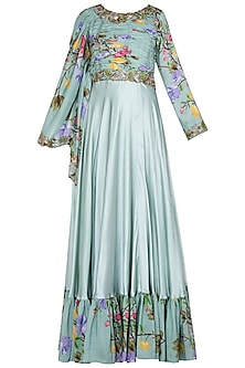 Green Printed and Embroidered Cape Anarkali Gown