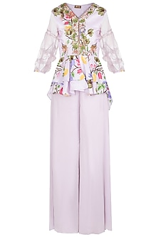 Lavender Printed and Embroidered Top with Palazzo Pants by Riraan By Rikita & Ratna