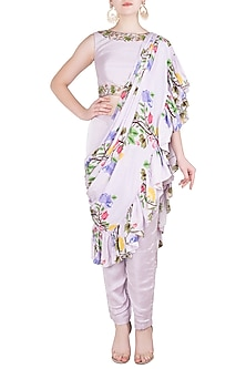 Lavender Printed and Embroidered Pant Saree with Blouse by Riraan By Rikita & Ratna