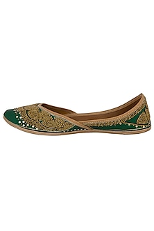 Bottle Green Sequins Embellished Juttis by RISA