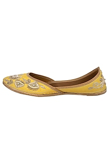 Yellow Sequins Embellished Juttis by RISA