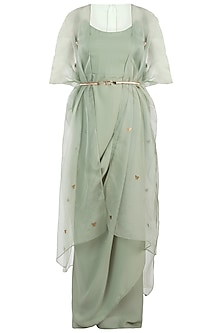 Sage Green Bodysuit With Kimono Style Cape by Rishi & Vibhuti