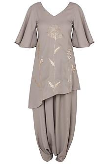 Grey Embroidered Kurta With Zouave Pants by Rishi & Vibhuti