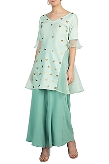 Green Embellished Kurta With Palazzo Pants by Rishi & Vibhuti