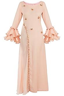 Peach Embellished Maxi Dress by Rishi & Vibhuti