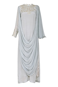 Grey One Side Slit Maxi Dress with Pants