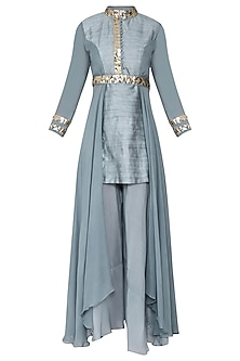 Blue Embellished Kurta with Pants and Belt