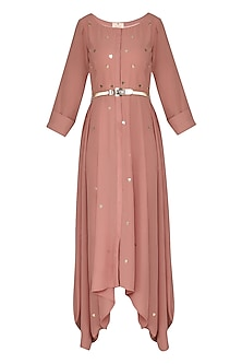 Pink Asymmetrical Drape Dress with Belt
