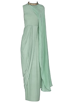 Sea Blue Drape Maxi Dress with Belt