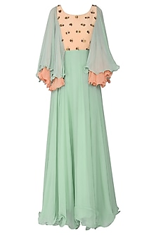 Mint Green and Peach Embellished Maxi Dress